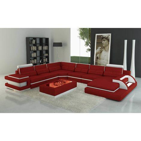 RANNA PANORAMIQUE - Canapé d'angle gauche panoramique design en cuir rouge et blanc avec lumière intégrée