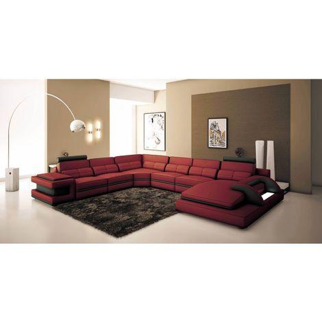 RANNA PANORAMIQUE - Canapé d'angle gauche panoramique design en cuir rouge et noir avec lumière intégrée