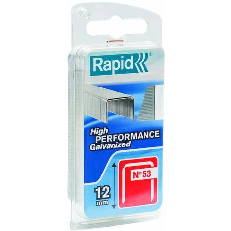 Rapid 40109512 - Punti metallici inossidabili, n°53, 12 mm, blister da 1080