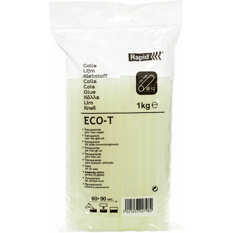 Rapid 40302798 ECO-T Transparent Glue Sticks 12mm x 190mm 1kg