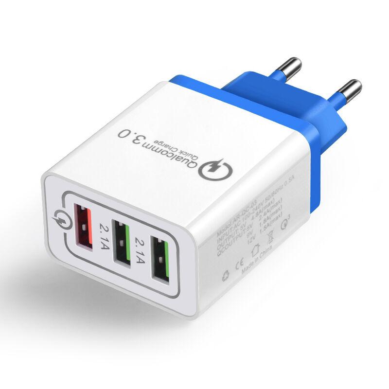 Rapide Chargeur De Telephone Charge Rapide 3.0 3 Ports Usb Ue Plug Power Voyage Adaptateur Socket Accueil Convertisseur Chargeur Mural, Bleu