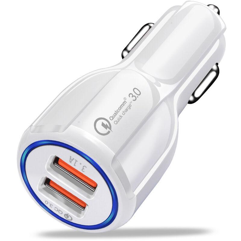 Rapide Chargeur Voiture Avec 2 Adaptateur Chargeur Voyage Port De Charge Rapide Usb Chargeur De Telephone Portable Pour Tablet, Blanc