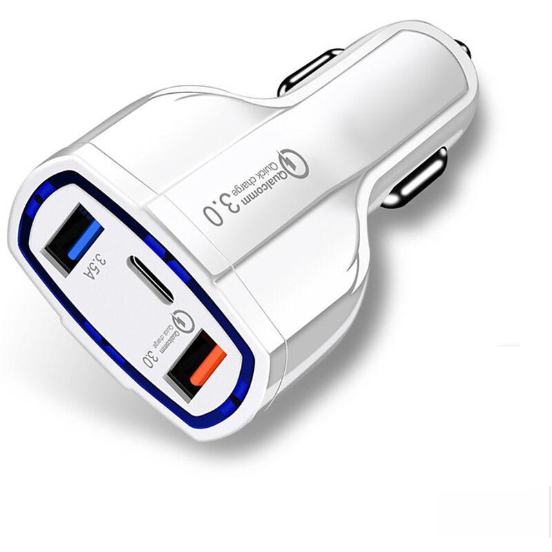Rapide Chargeur Voiture Avec 2 Ports Usb De Type C De Charge Rapide Voyage Adaptateur Chargeur De Telephone Pour Tablet, Blanc