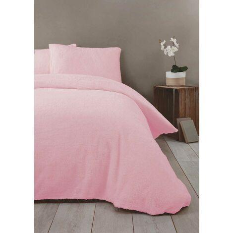 Rapport Pink Fleece Double Duvet Cover Bedding Bed Set Quilt Cover Warm