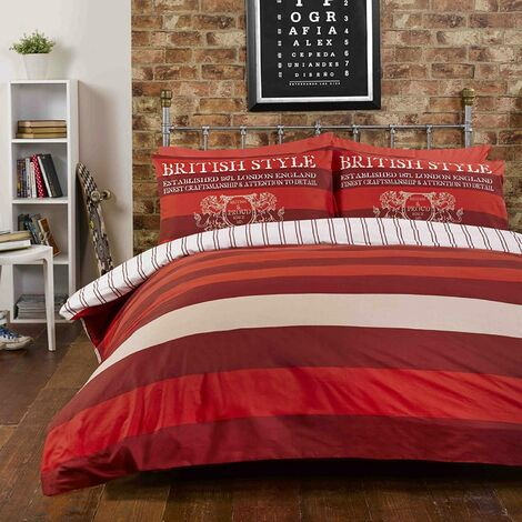 Rapport Richmond Red Double College Uni Bedding Duvet Cover Set