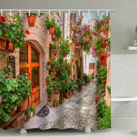 """main image of """"Rare Pearl Bathroom Shower Curtain Brick Wall Arch with 12 Shower Curtain Rings (150x180cm)"""""""