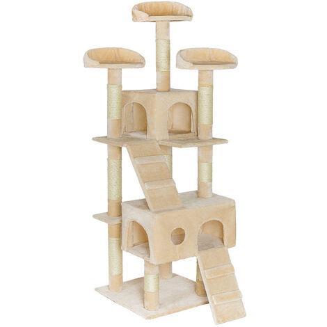 Rascador Mogli - árbol rascador para gatos, parque de juegos para gatos con columnas de sisal, juguete para gatos con casetas