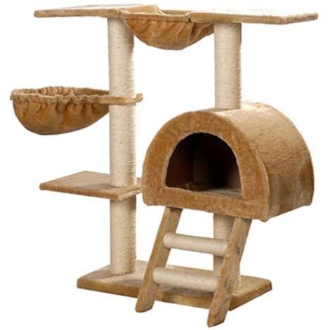 Rascador Para Gatos 105cm Color Beige Felpa Torre De Gato Gimnasio