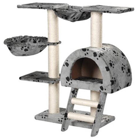 Rascador Para Gatos 105cm Color Gris Con Estampado De Patas Torre