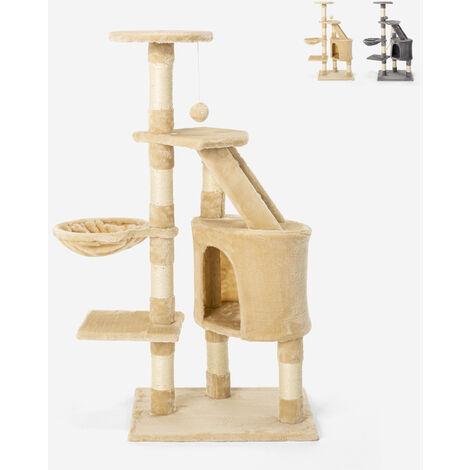 Rascador para gatos 120 cm, columna de cuerda de sisal, cama de bolas de felpa de 4 pisos Bengal
