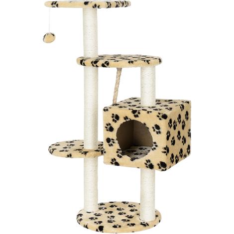 Rascador para gatos (40 x 40 x 113 cm aprox)(crema con huellas) varios niveles - sisal - con juegos y sitio para acurrucarse