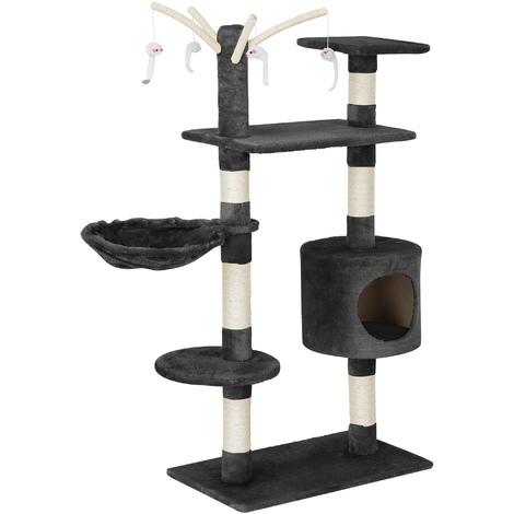 Rascador para gatos (65 x 35 x 130 cm aprox.)(gris) varios niveles / Sisal / con juegos, cueva y hamaca