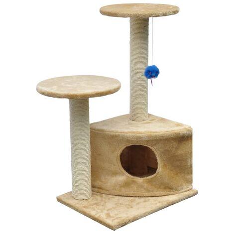 Rascador Para Gatos 70 cm Color Beige Felpa Gimnasio Para Gato