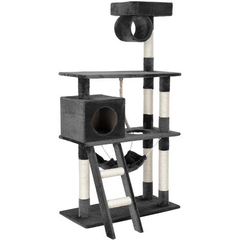 Rascador para gatos árbol para trepar y arañar sisal centro de juegos - 70 x 35 x 141 cm - gris