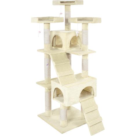Rascador para gatos Barney - árbol rascador para gatos, parque de juegos para gatos con columnas de sisal, juguete para gatos con casetas