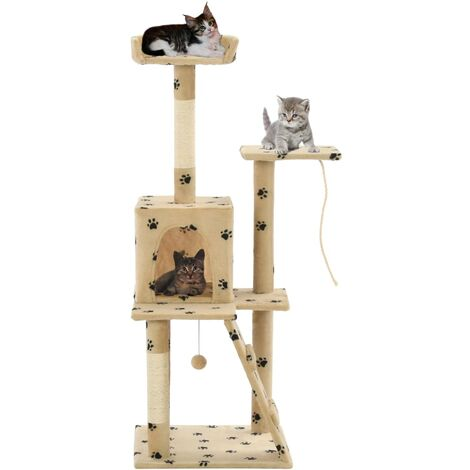 Rascador para gatos con poste de sisal 120 cm huellas beige