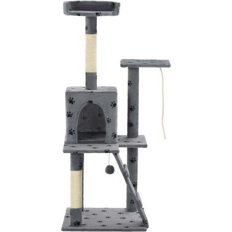 Rascador para gatos con poste de sisal 120 cm huellas gris