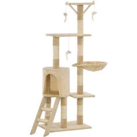 Rascador para gatos con poste de sisal 138 cm beige