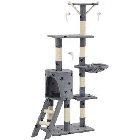 Rascador para gatos con poste de sisal 138 cm huellas gris