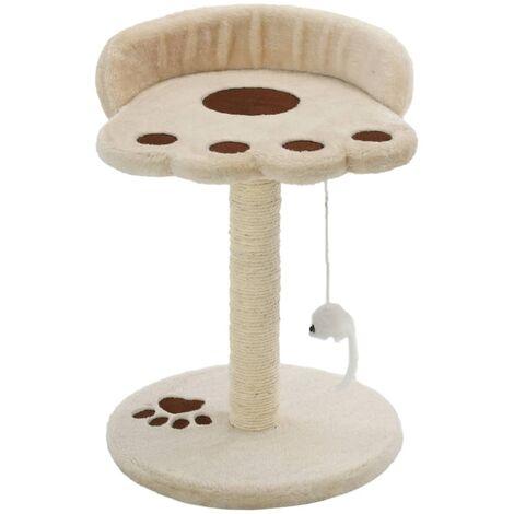 Rascador para gatos con poste de sisal 40 cm beige y marrón
