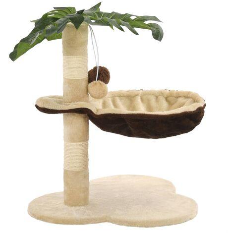 Rascador para gatos con poste de sisal 50 cm beige y marrón