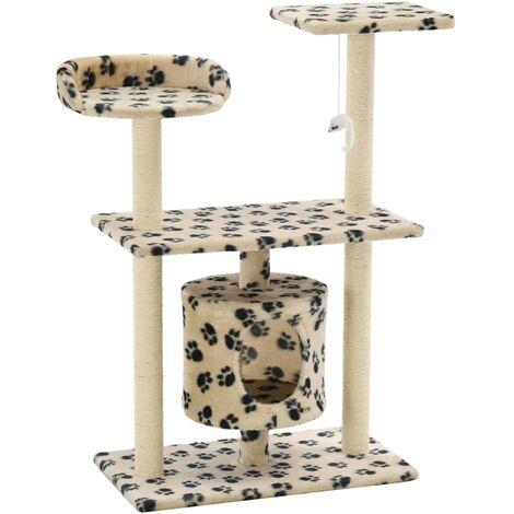 Rascador para gatos con poste de sisal 95 cm huellas beige