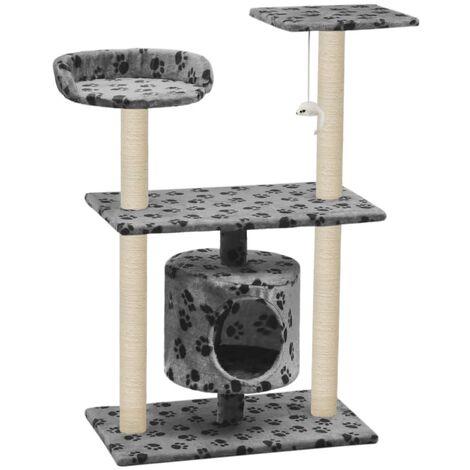Rascador para gatos con poste de sisal 95 cm huellas gris