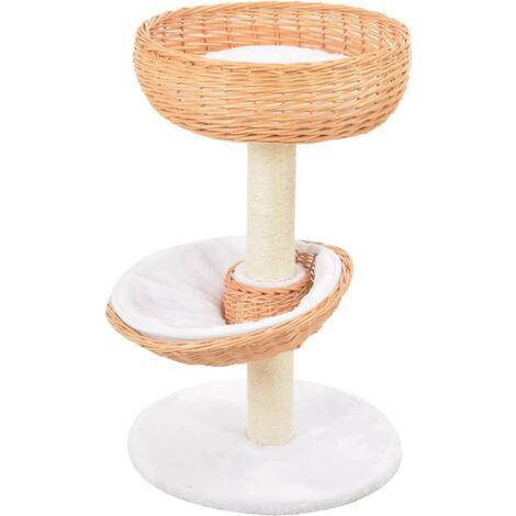 Rascador para gatos con poste de sisal madera natural de sauce