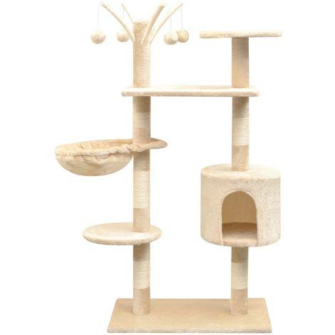 Rascador para gatos con poste rascador de sisal 125 cm beige