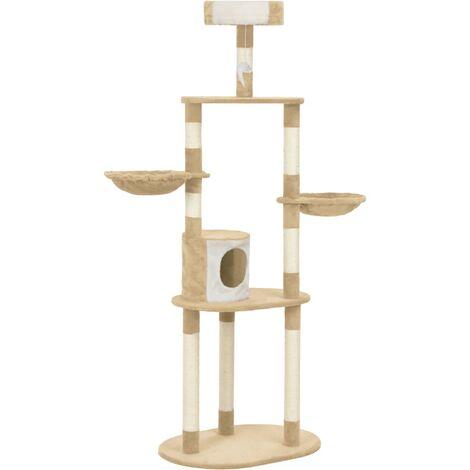 Rascador para gatos con postes de sisal 180 cm beige
