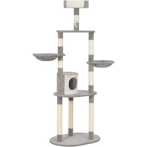 Rascador para gatos con postes de sisal 180 cm gris