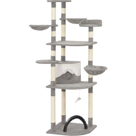 Rascador para gatos con postes de sisal 190 cm gris