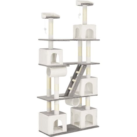 Rascador para gatos con postes de sisal 225 cm blanco