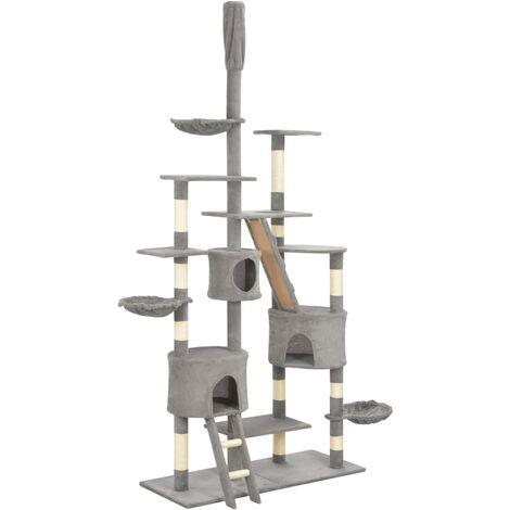 Rascador para gatos con postes de sisal 255 cm gris