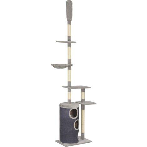 Rascador para gatos con postes de sisal 260 cm gris