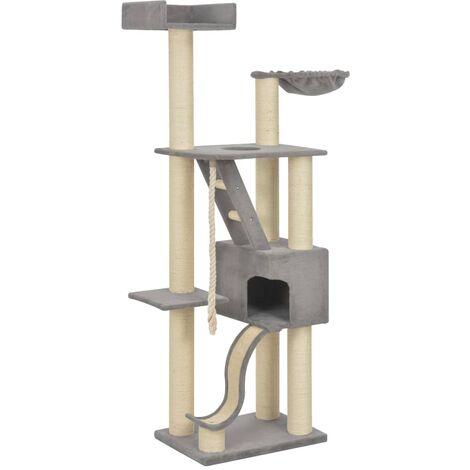 Rascador para gatos con postes de sisal gris 180 cm XXL