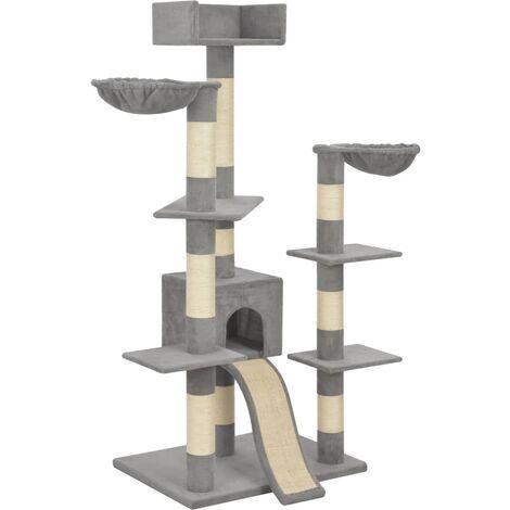 Rascador para gatos con postes de sisal gris 183 cm XXL