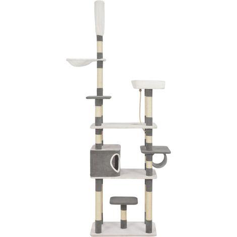 Rascador para gatos con postes de sisal gris 235 cm