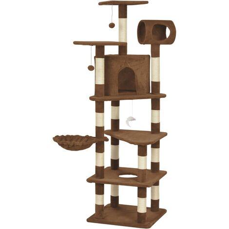 Rascador para gatos con postes de sisal marrón 165 cm