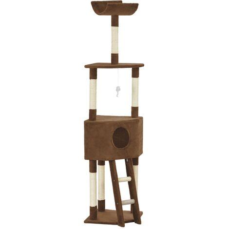 Rascador para gatos con postes de sisal marrón 180 cm