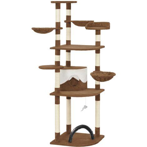 Rascador para gatos con postes de sisal marrón 190 cm