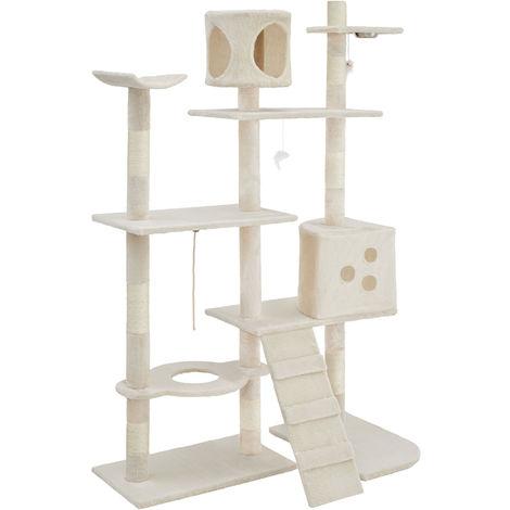Rascador para gatos de lujo - árbol rascador para gatos, parque de juegos para gatos con columnas de sisal, juguete para gatos con casetas
