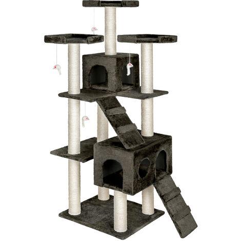 Rascador para gatos Knuti - árbol rascador para gatos, parque de juegos para gatos con columnas de sisal, juguete para gatos con casetas