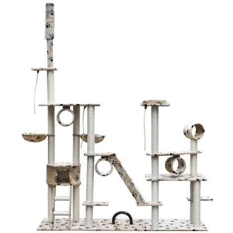 Rascador Para Gatos Lujoso 230-260 cm Beige Con Estampado De Patas