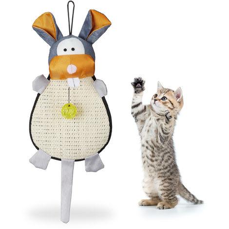 Rascador para Gatos para Pared con Juguete y Cascabel, Sisal, Multicolor, 55 x 22 x 10 cm