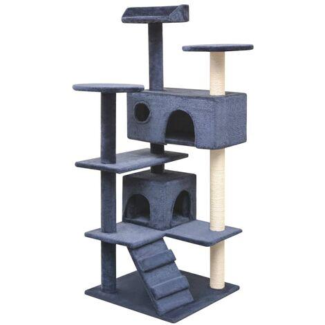 Rascador para gatos poste rascador de sisal 125 cm azul oscuro