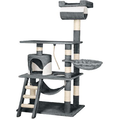 Rascador para gatos Stokeley - árbol rascador para gatos, parque de juegos para gatos con columnas de sisal, juguete para gatos con casetas
