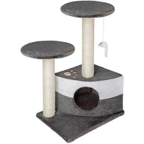 Rascador para gatos Tommy - árbol rascador para gatos, parque de juegos para gatos con columnas de sisal, juguete para gatos con casetas