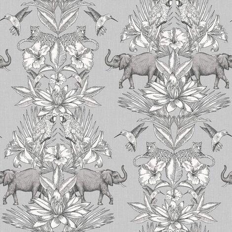 Rasch 270426 Wallpaper Tropical Jungle Wild Animals Elephant Birds