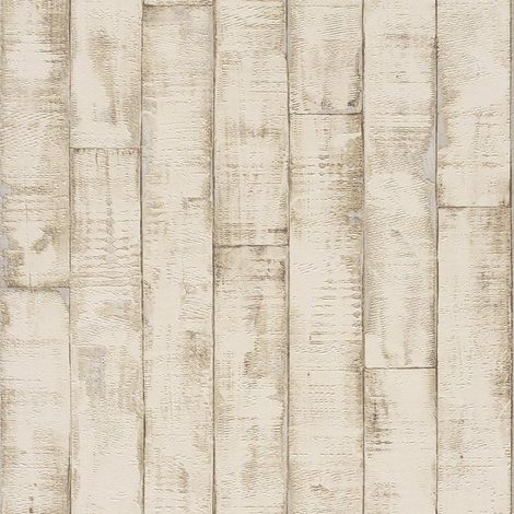 Rasch 3D Bleached Wood Panel Vinyl Wallpaper Beige Washable Kitchen Bathroom